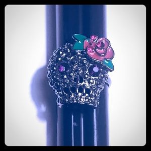 Jewelry - Fashion Ring Silver Rose Skull Size 7